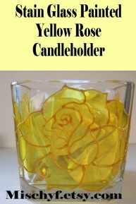 Stain glass hand painted 18oz yellow rose candle holder. Found only at mischyf.etsy.com