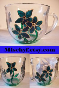 Forget Me Not 18oz glass cup. Found only at mischyf.etsy.com