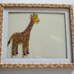 Giraffe Frame, Birth Announcement, Hand Painted Stain Glass Effect