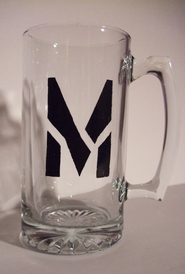 Personalized Letter M Stein Mug Large 26oz