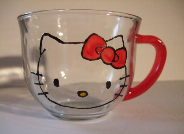 Hello Kitty Tea Mug, Coffee Cup, hand painted, made for coffe lovers, tea drinkers or that tween, teen that loves Hello Kitty.