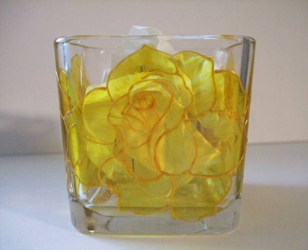 Yellow Rose Candle Holder, Painted Stain Glass Effect