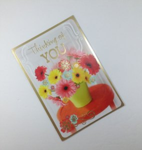 Hallmark at Dollar Tree. Card Front: Thinking of You! Card Inside: Just a little note to brighten up your day.