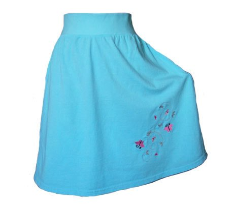 Turquoise Jersey Knit Skirt Butterfly Embroidery with a Rolled Waistband