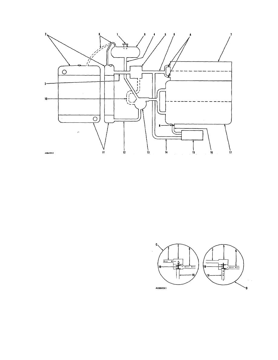 COOLING SYSTEM WITH VERTICAL RADIATOR AND SEPARATE SURGE TANK