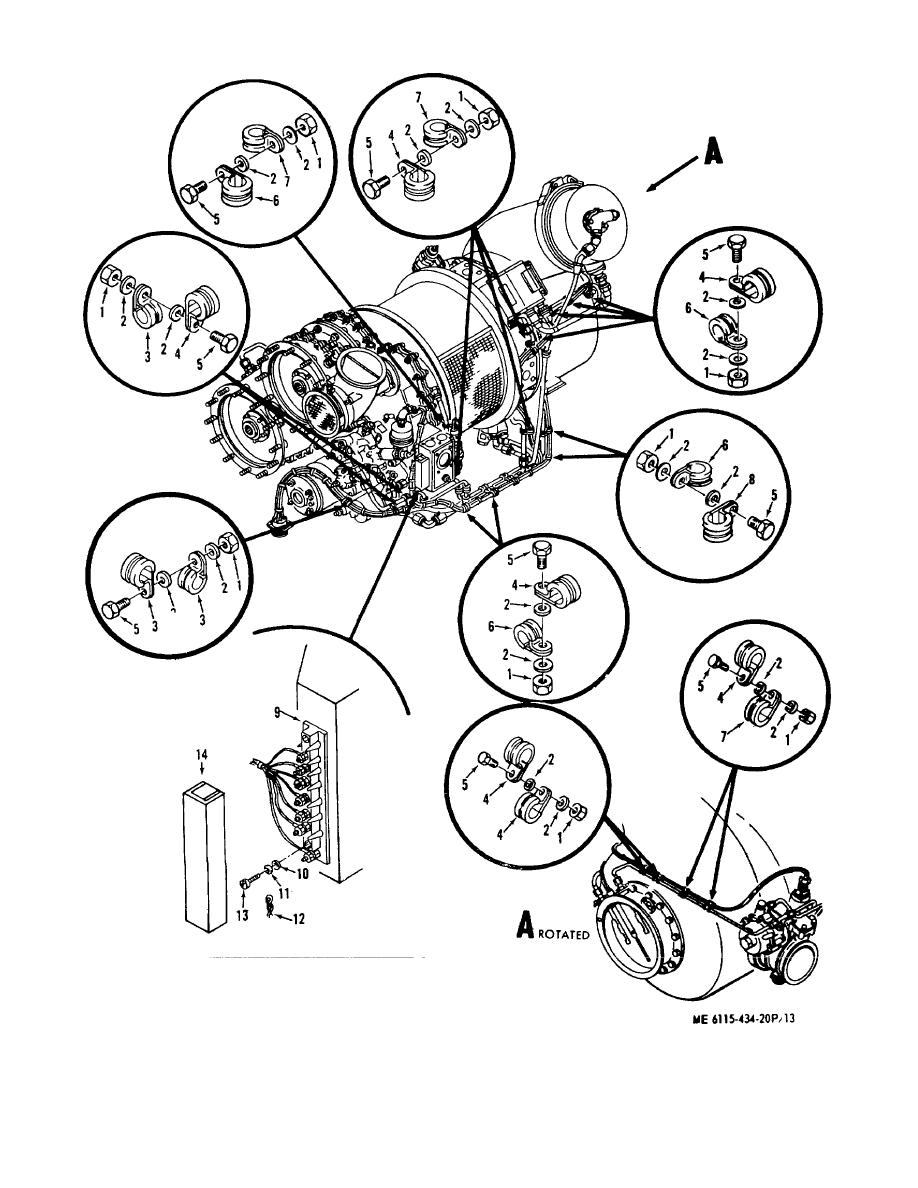Figure 13. Gas Turbine Engine Wiring Harness, Clamps, and