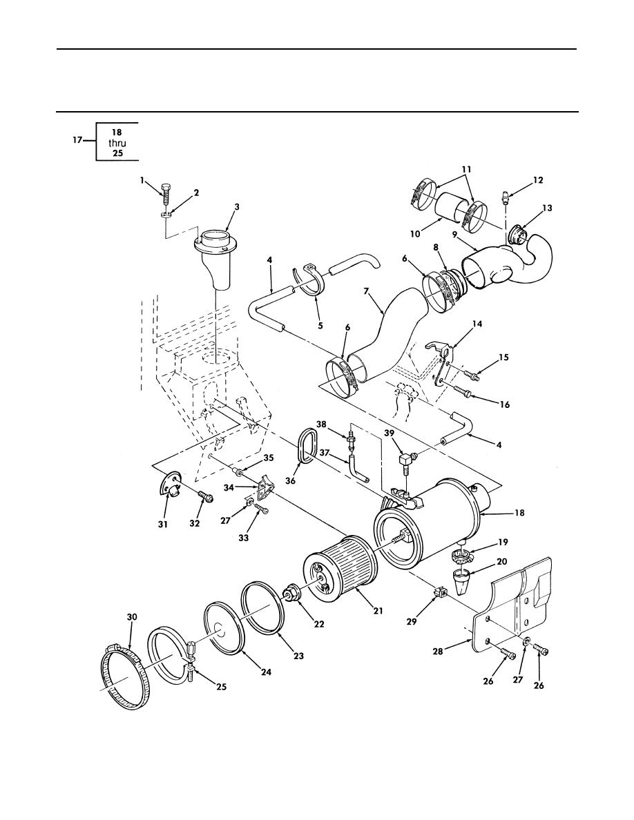 Figure 25. Air Cleaner, Air Horn, and Related Parts (Sheet
