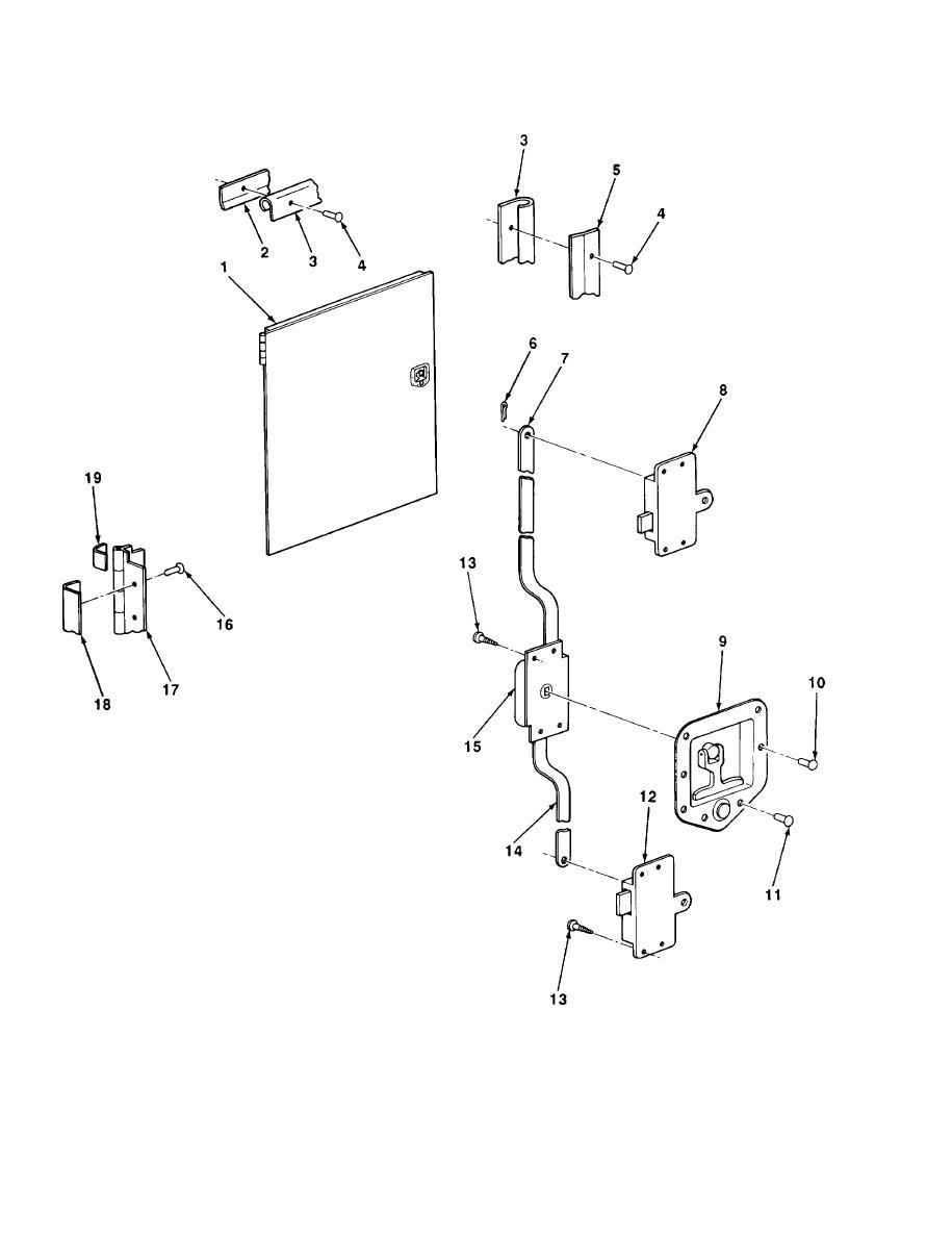 FIGURE 64. COMPARTMENT DOOR (M447, M447C, AND M750)