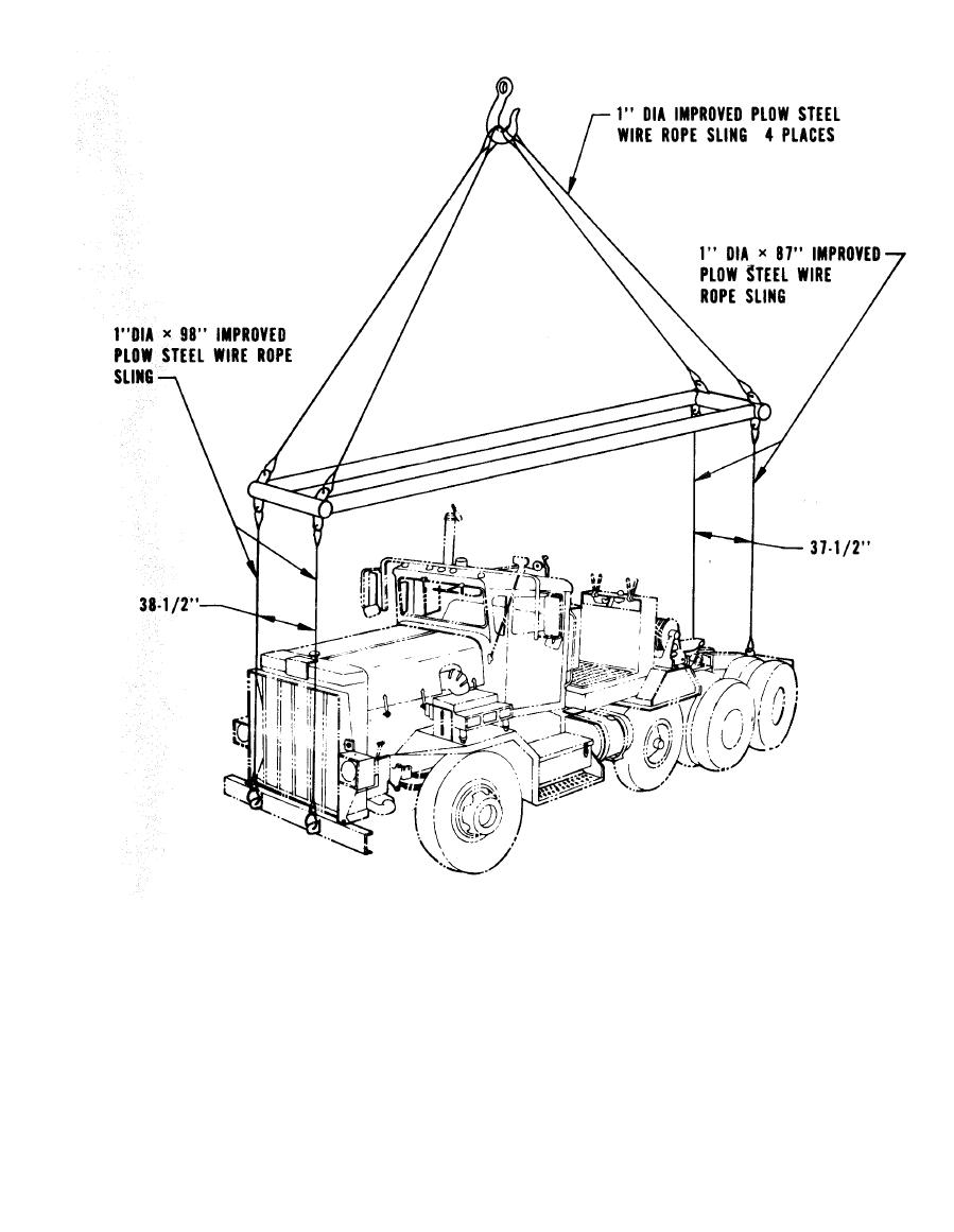 Figure 6-5. Lifting diagram for truck-tractor, M911 using