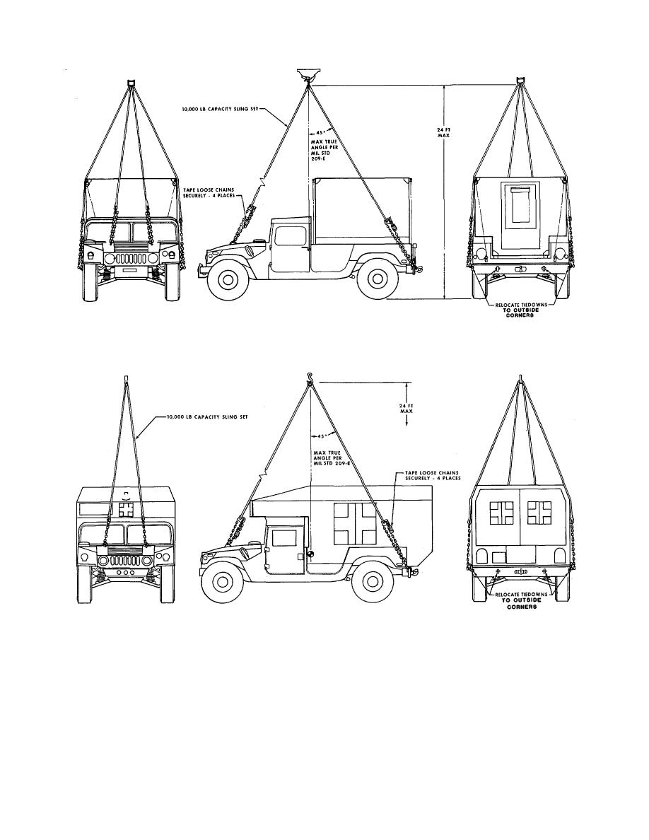 Figure 4-6. Typical sling loading of shelter carrier for