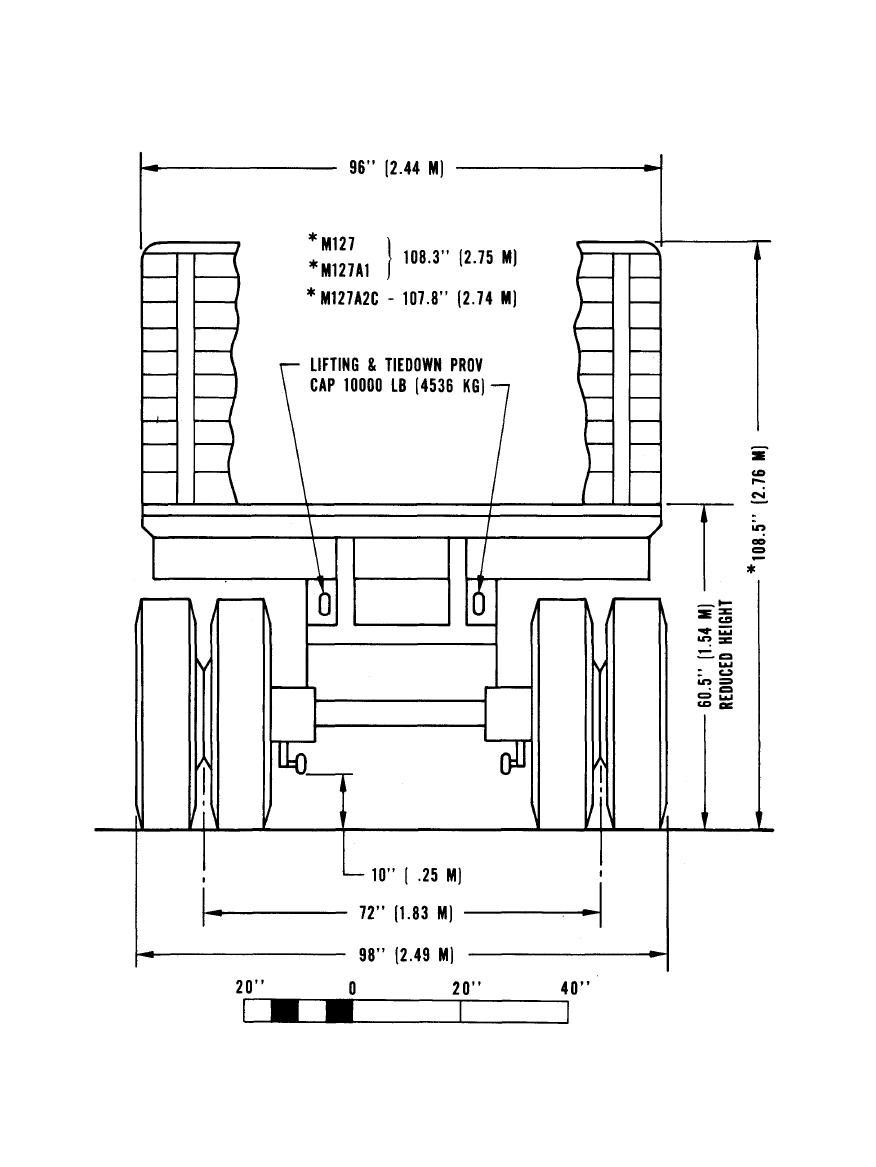 Figure 2-9. Rear elevation, semitrailer, stake, 12-ton, 4