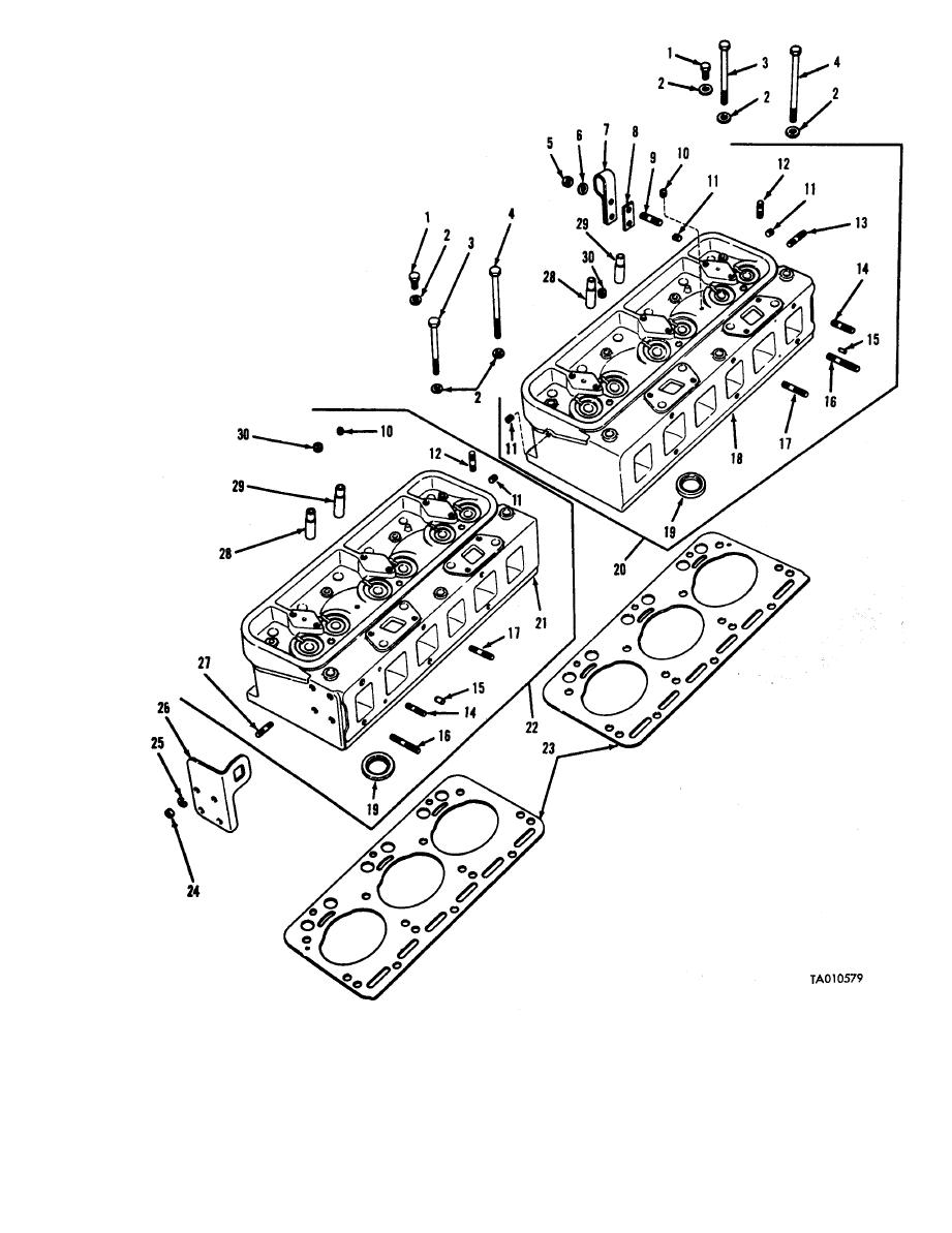 Figure 4. Cylinder head and related parts-exploded view.
