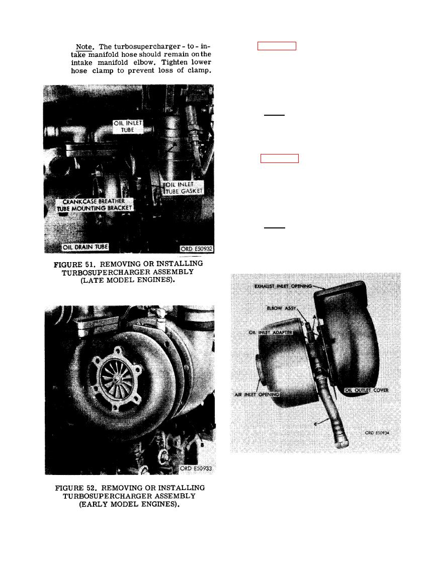 FIGURE 51 REMOVING OR INSTALLING TURBOSUPERCHARGER ASSEMBLY LATE MODEL ENGINES