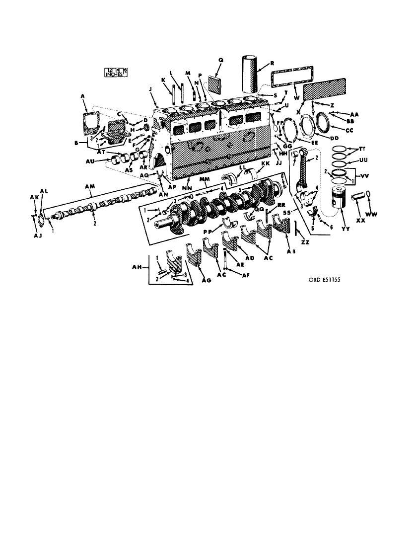 FIGURE 322. CYLINDER AND CRANKCASE, CRANKSHAFT, PISTON