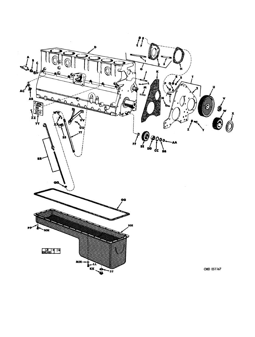 FIGURE 351. CYLINDER AND CRANKCASE, TIMING GEARS , OIL PAN