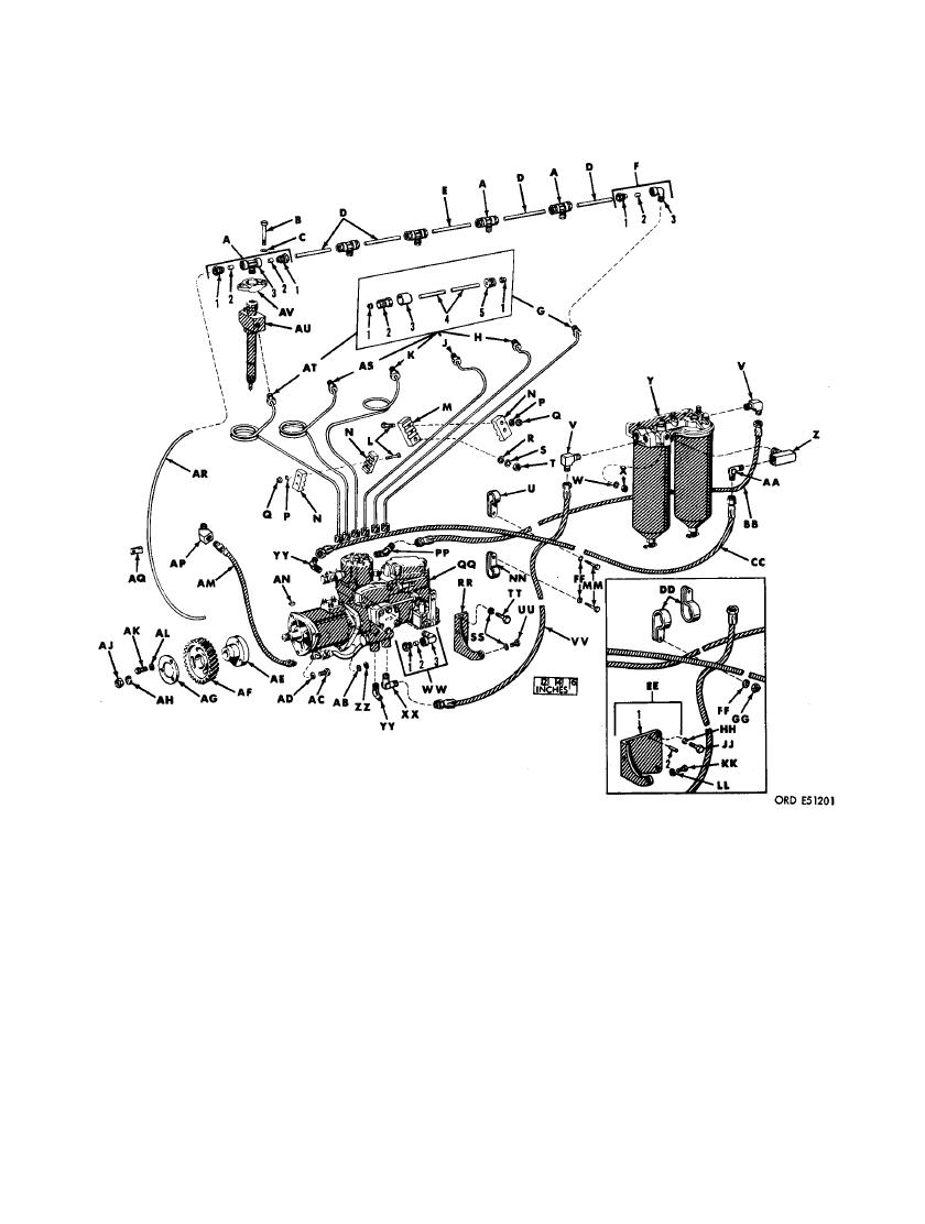 FIGURE 407. FUEL INJECTION TUBE ASSEMBLIES, FUEL INJECTION
