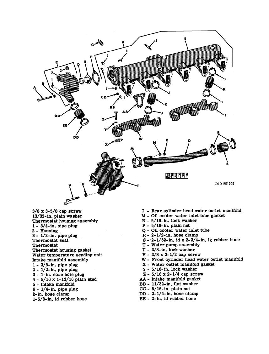 FIGURE 408. INTAKE MANIFOLD, CYLINDER HEAD WATER OUTLET