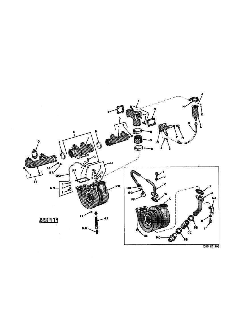FIGURE 410. EXHAUST MANIFOLD, FLAME HEATER, AND RELATED