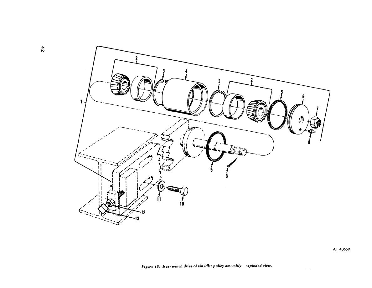 Figure 10. Rear winch drive chain idler pulley assembly