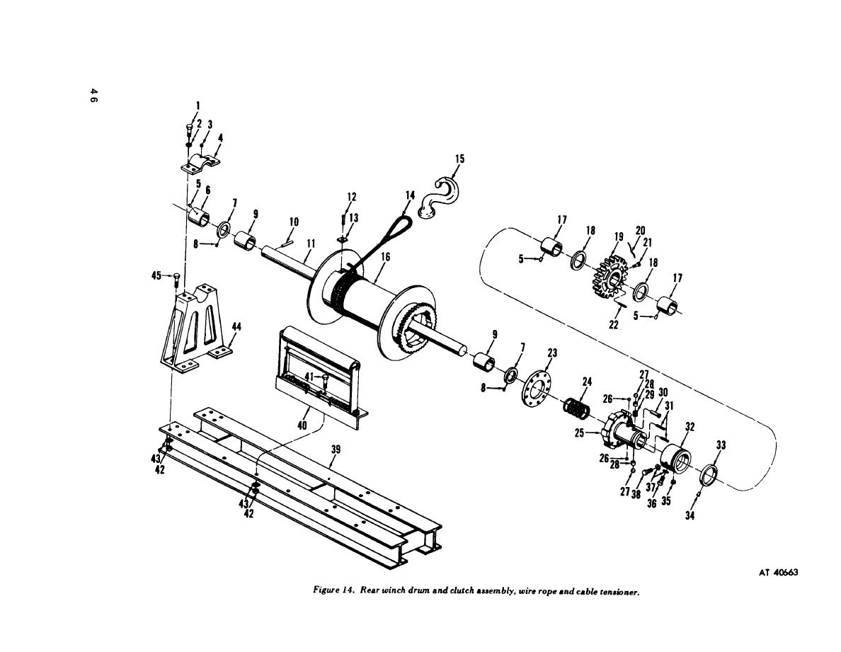 Figure 14. Rear winch drum and clutch assembly, wire rope