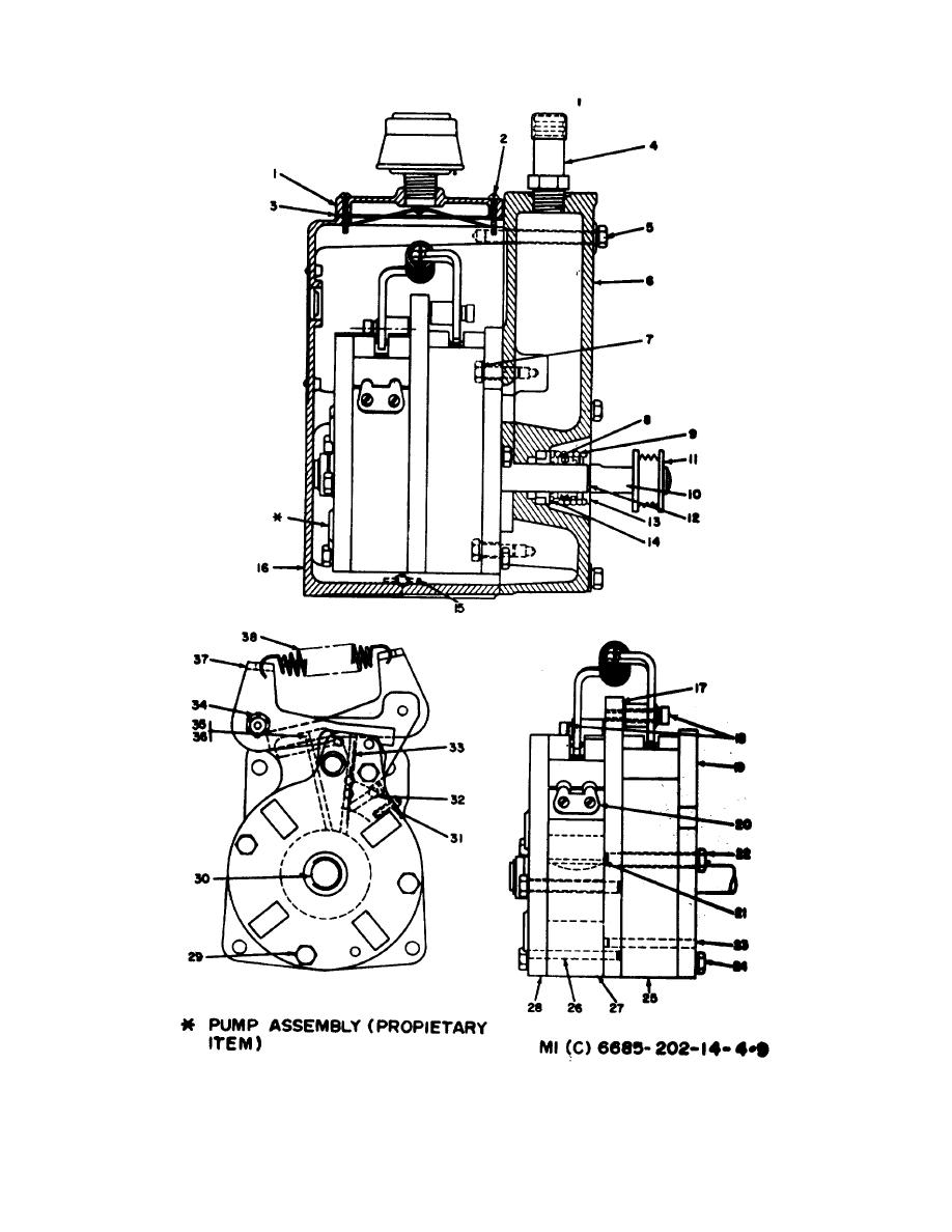 Figure 4-9. Disassembly of vacuum pump, 4310-203-3057.