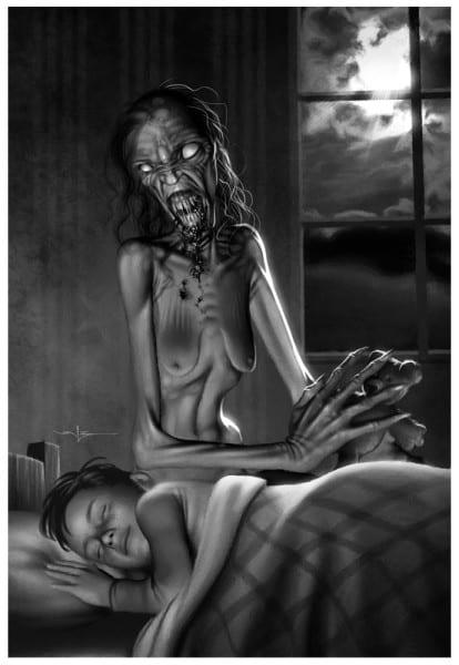 monstruo mujer vieja al costado de nino durmiendo