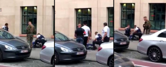 IN BEELD – Soldaten schieten man dood die hen met mes aanvalt in hartje Brussel