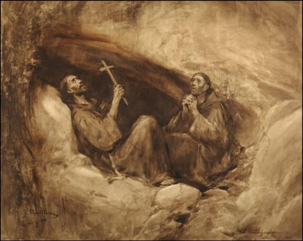 São Francisco e Frei Masseu abrigados numa gruta