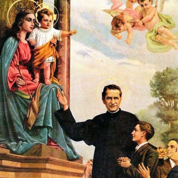 Gravura mostra Dom Bosco com seus jovens diante de Maria Auxiladora