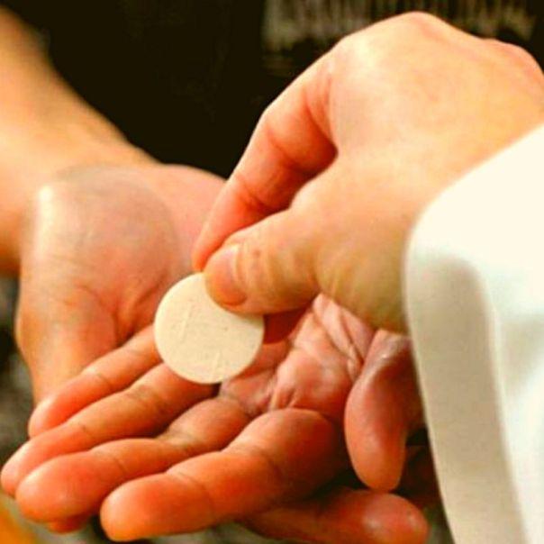 Pessoa recebe a comunhão na mão