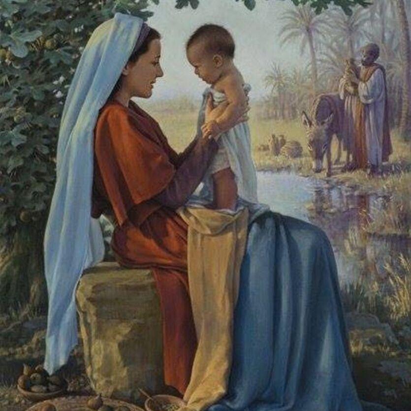 Pintura de Maria segurando o Menino Jesus.