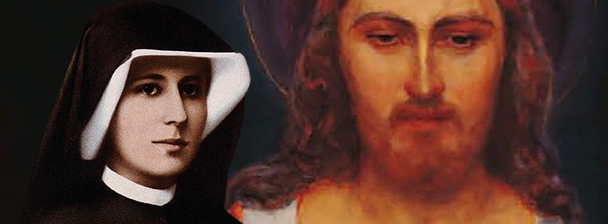 Santa Faustina Kowalska e a imagem de Jesus Misericordioso ao fundo