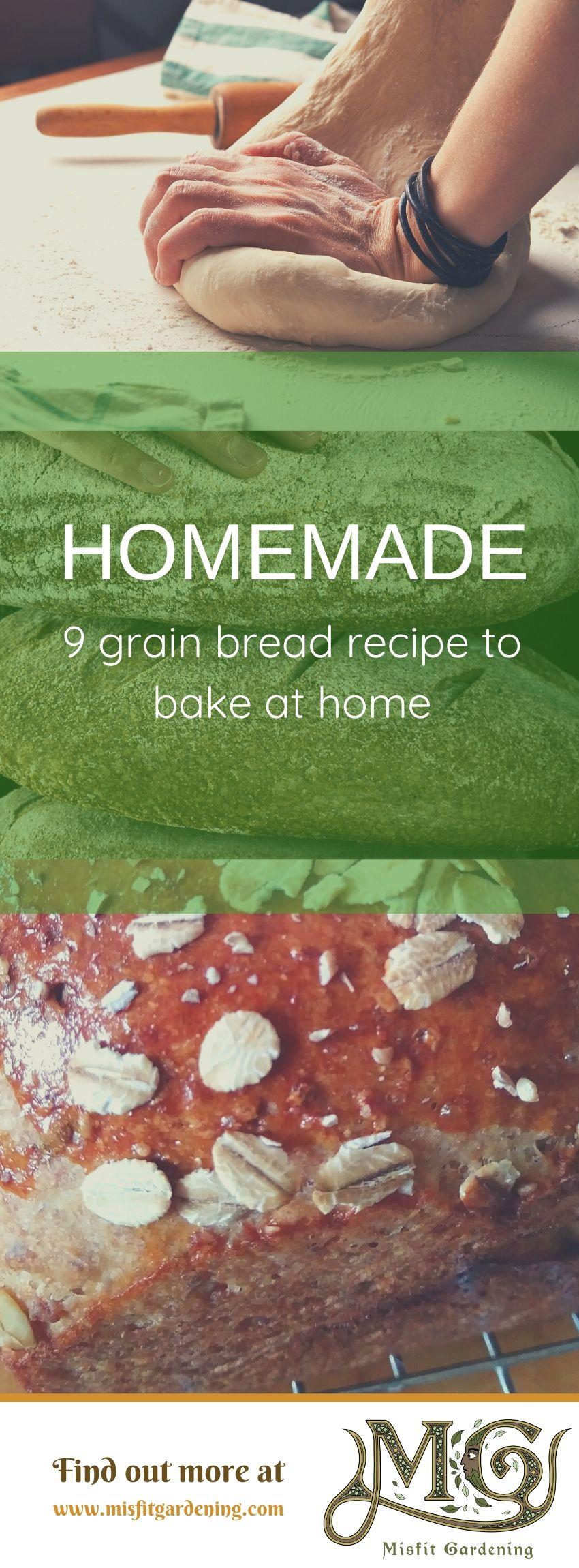 Klicken Sie hier, um das 9-Korn-Brotrezept zu erhalten, oder stecken Sie es fest und speichern Sie es für später. #homemade #homestead