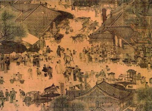 """Along the River During the Qingming Festival (detail of original)"" by Zhang Zeduan - File:Alongtheriver QingMing.jpg. Licensed under Public Domain via Wikimedia Commons."