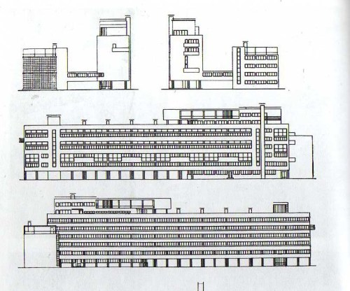 Narkomfin housing drawings, Moscow