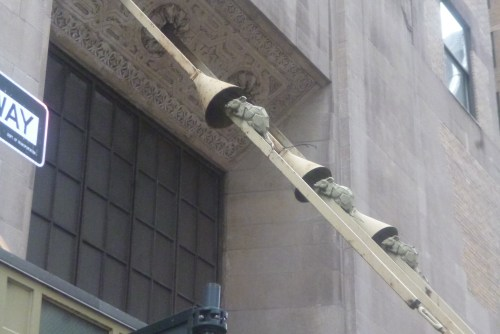 ships' rat guards and mock rats as ornamenting the main entrance canopy supports