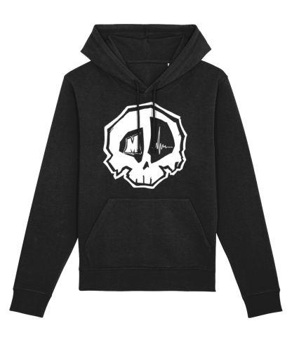 Best Black Skull Hoodie - Skulls Print Hoodies - ECO Organic ring-spun Combed Cotton Clothing - White Skull Hooded Sweatshirt - Skull Art & Design
