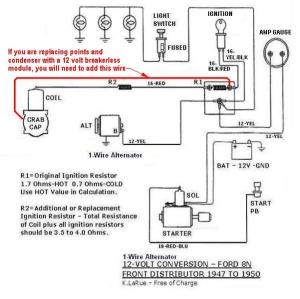 8n 12v conversion diagram for one wire, with a front