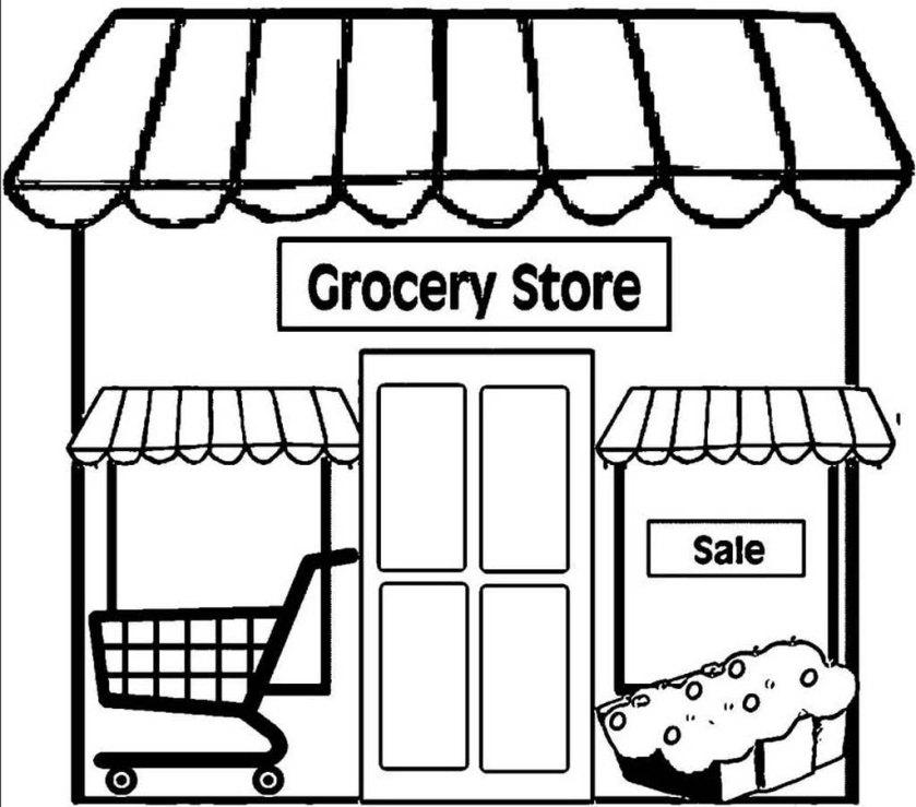 Раскраски Магазин. Раскраски магазина с продуктами для детей.