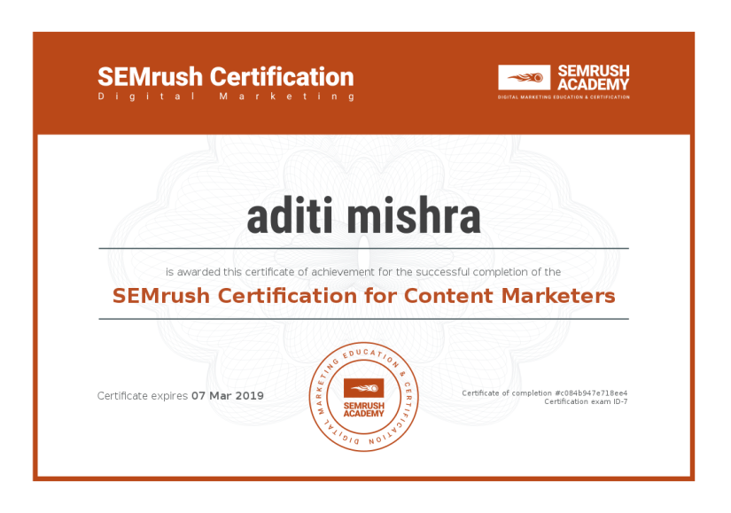 Digital Marketing Certification ~ SEMrush Content Marketers
