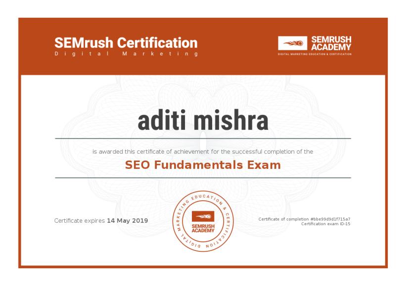 Digital Marketing Certification ~ SEMrush SEO Fundamentals