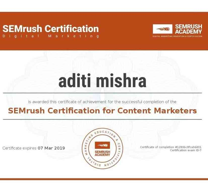 Digital Marketing Certification from SEMrush