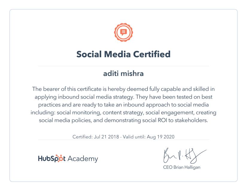 Digital Marketing Certification ~ HubSpot Social Media Certification
