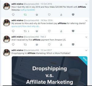start an affiliate marketing business ~ twitter feed