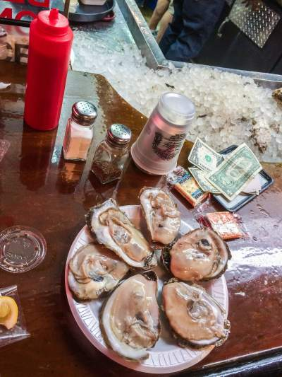 Oysters at Faidley's in Baltimore