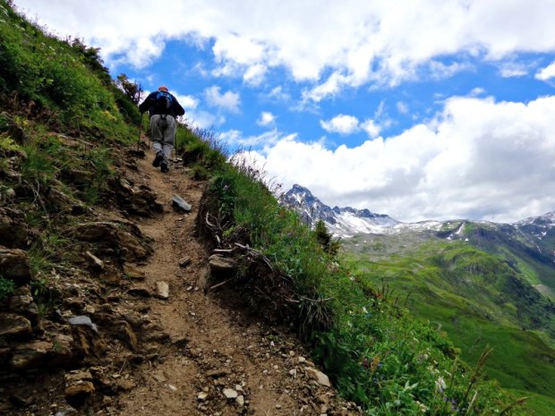 Steep hills while hiking in the Alps