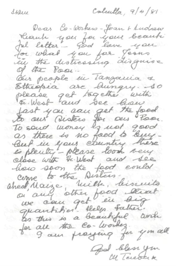 Carta de la Santa Madre Teresa de Calcuta a los Dres. Simone
