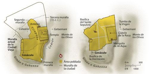Jerusalén en el año 70 y la Ciudad Vieja en la actualidad. Gráfico: J. Gil.