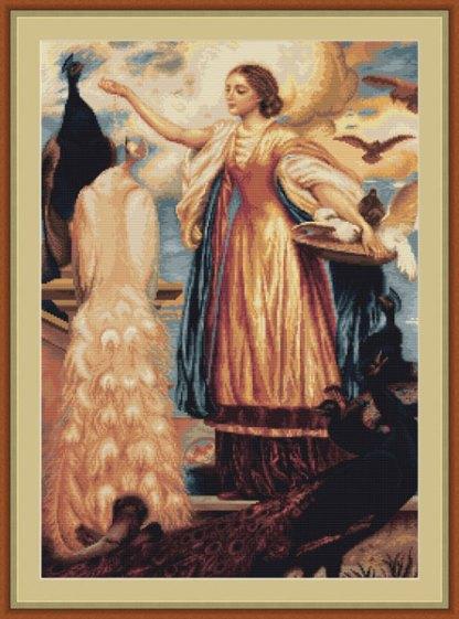 Kit de petit point o medio punto para bordar cuadro de mujer con pavos reales