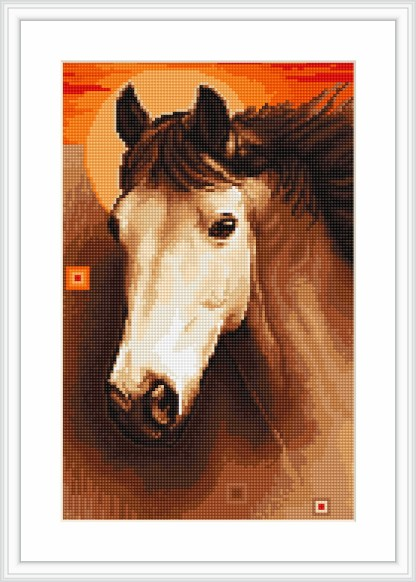 Kit de petit point o medio punto para bordar cabeza de caballo